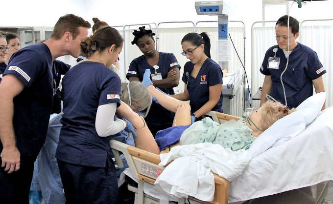 UF College of Nursing students engage in simulation-based training for labor and delivery.